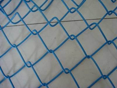PVC coated chain link fence in blue with diamond holes.