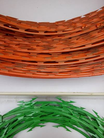 A section of two coil of PVC coated razor wire in green and orange.