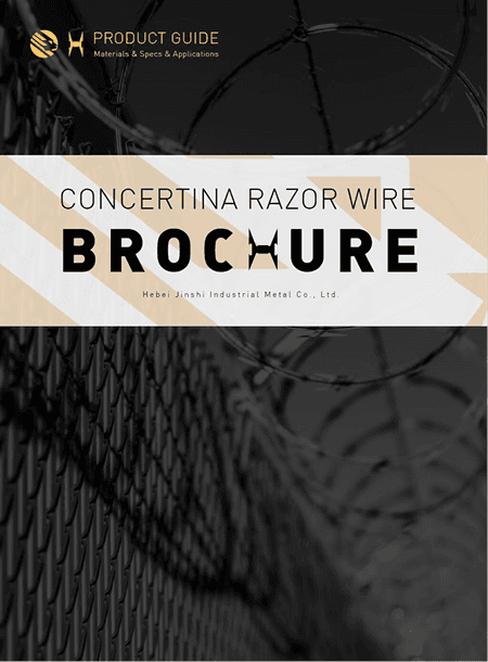 A brochure of concertina razor wire.
