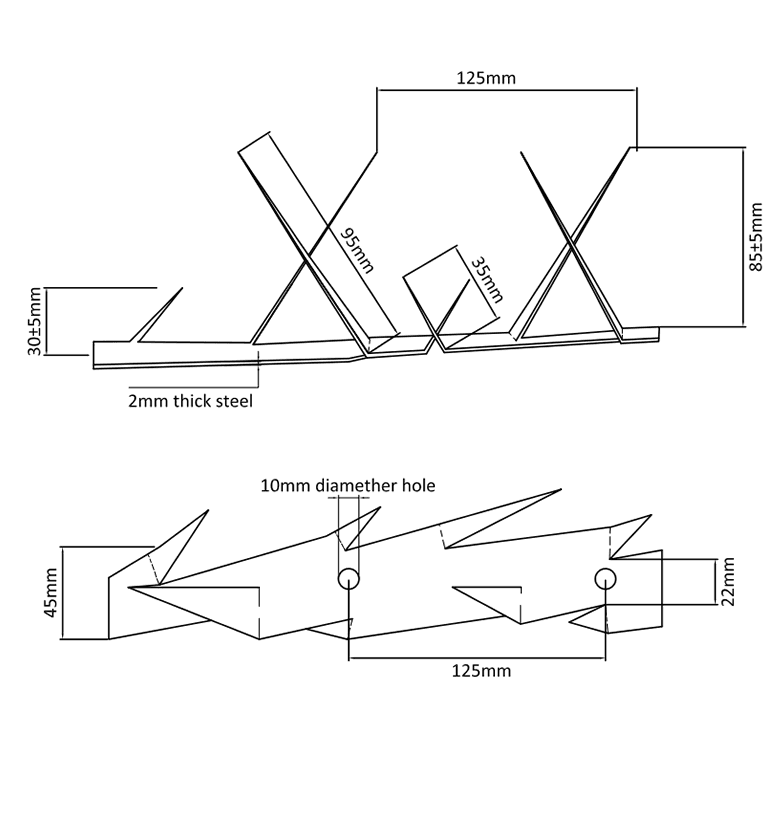 The drawing of WSM-01 medium wall spikes.
