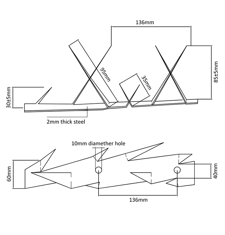 The drawing of WSM-02 medium wall spikes.