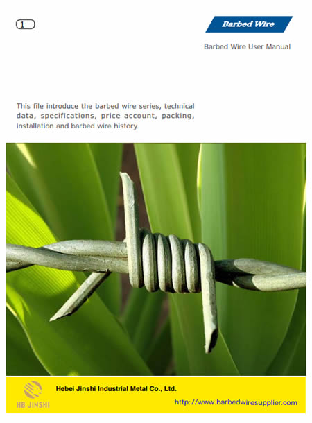 This is the cover photo of barbed wire PDF, which mainly shows technical data for customers.
