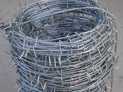A roll of galvanized single strand barbed wire on the ground.