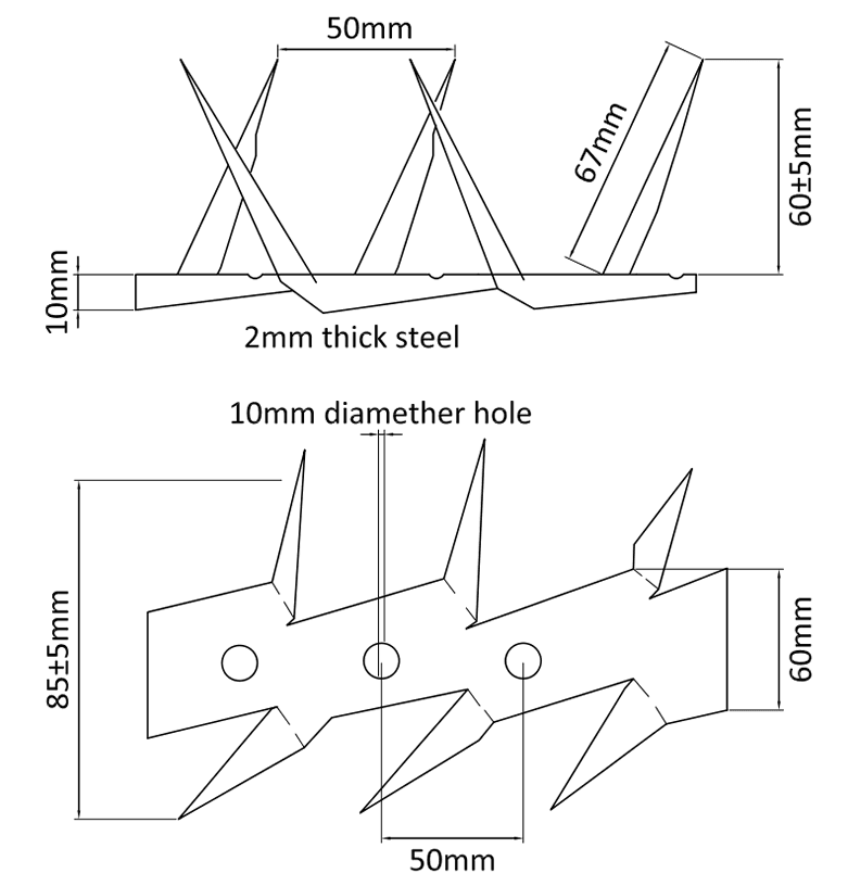 The drawing of WSS-02 small wall spikes.