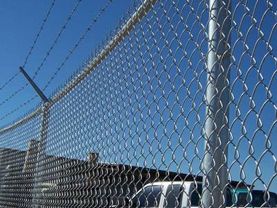 Chain link fence and barbed wire offer high security